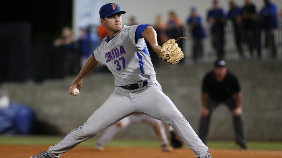 Shaun Anderson of Coral Springs pitching at the University of Florida this past spring.  Photo courtesy photo courtesy of the Florida Gators Athletic Department.