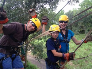 Karen and Paul zip-lining with The Canyons Zip Line and Canopy Tours in Ocala with son Anthony.