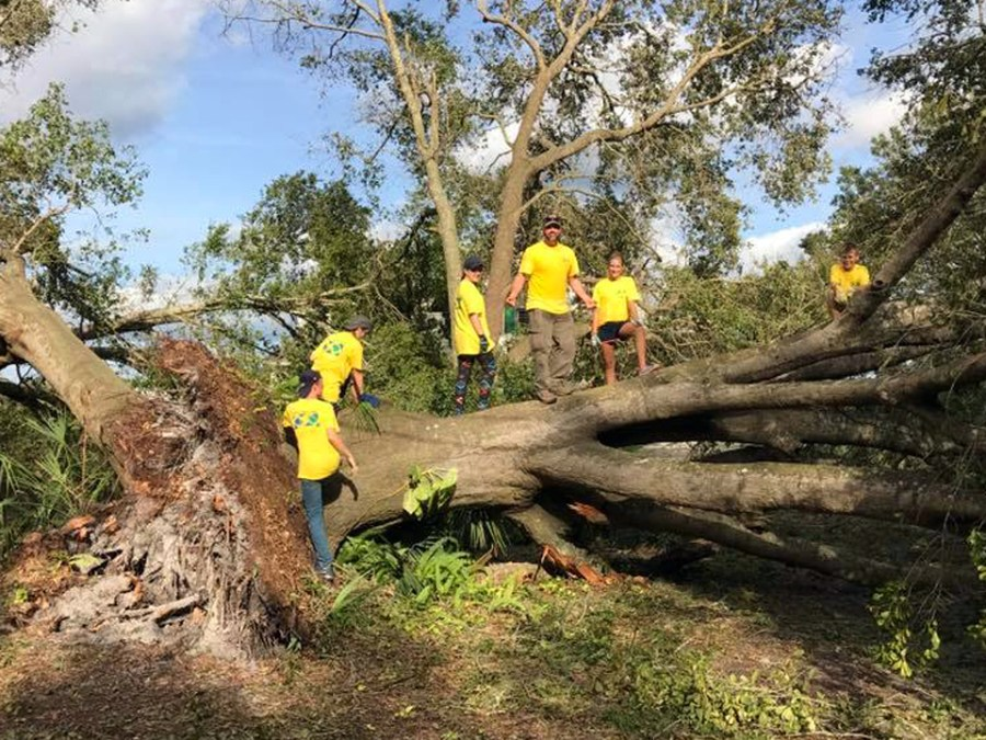 Members of Coral Springs Church of Jesus Christ of Latter-Day Saints volunteering after Hurricane Matthew.