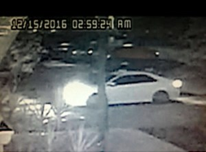 Suspects vehicle caught on surveillance camera.