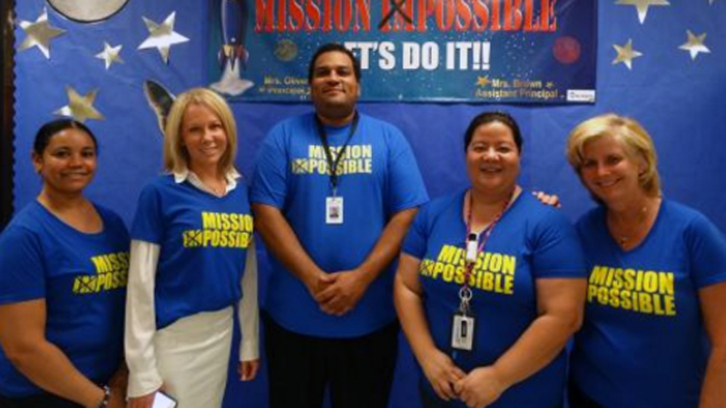 Christianne Weiner (right) pictured with other faculty at Coral Springs Elementary School. Courtesy Broward County Public Schools