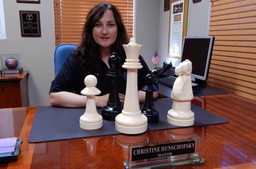 Come challenge Parkland Mayor Christine Hunschofsky to a game of chess.