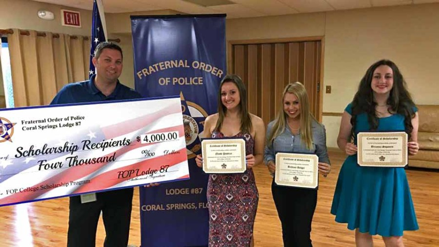2016 College Scholarship recipients - Nicole Pustizzi, Brittany Bolger and Brianna Sopourn. Not pictured is Heather Errede.