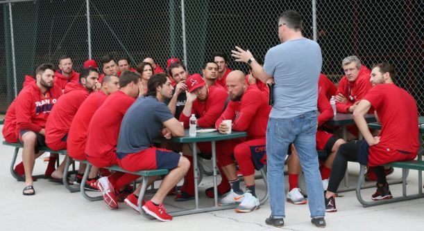 Darrin Patrick, St. Louis Cardinals Chaplain, holds a Sunday morning chapel service in Spring Training February 21