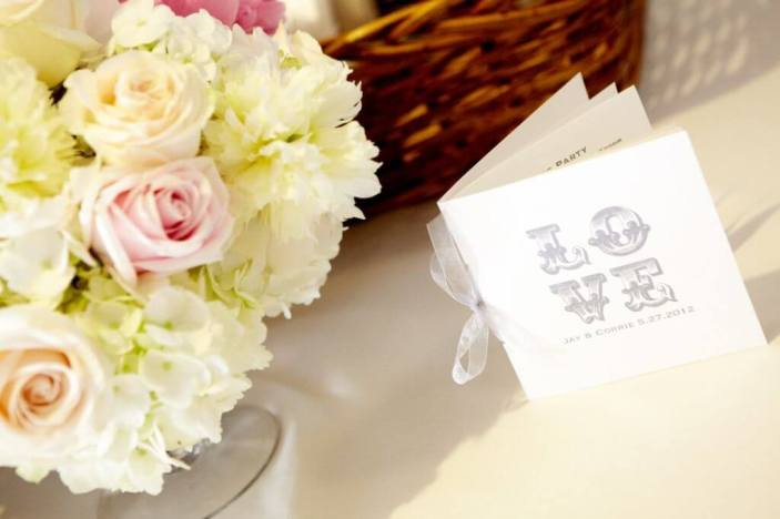 Love Wedding and Reception Program with White and Pink Roses