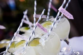 Cocktails with Personalized Straws Happy Love Ever After