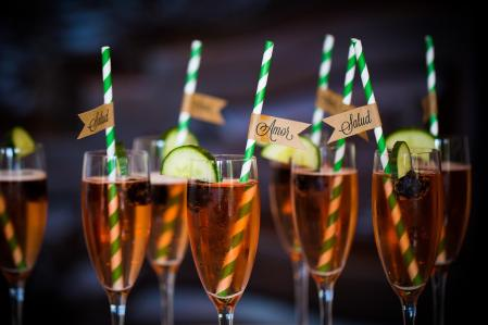 Private Dinner Reception Signature Drinks and Custom Straws