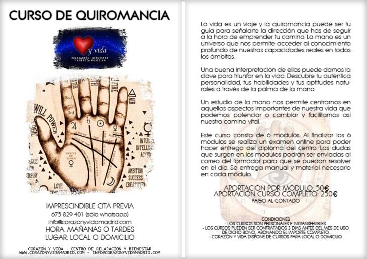 Curso de quiromancia - Corazón y vida - Tfno.: 675 829 401 (sólo WhatsApp) - info@corazonyvidamadrid.com