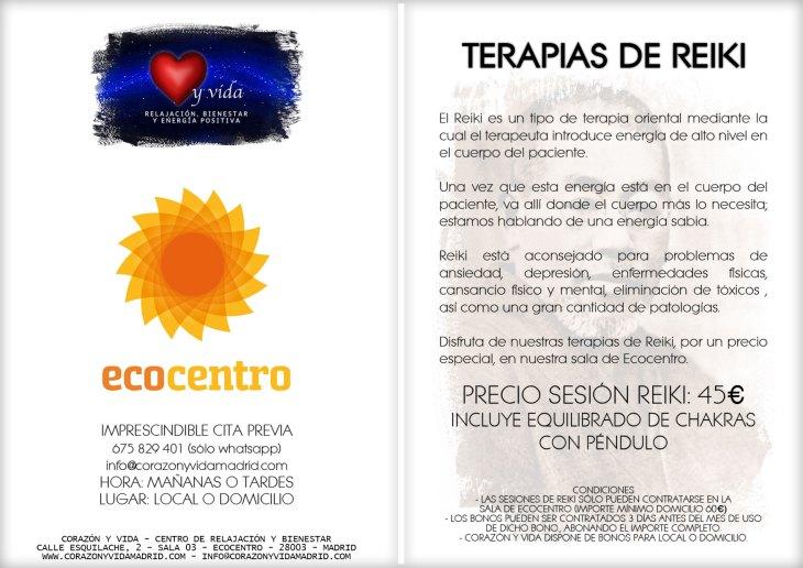 Terapias de Reiki - Corazón y vida - Sala 03 - Ecocentro - Tfno.: 675 829 401 (sólo WhatsApp) - 28003 - Madrid - info@corazonyvidamadrid.com