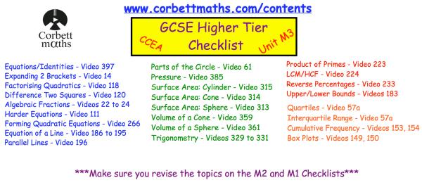 CCEA GCSE Summer 2019 – Corbettmaths