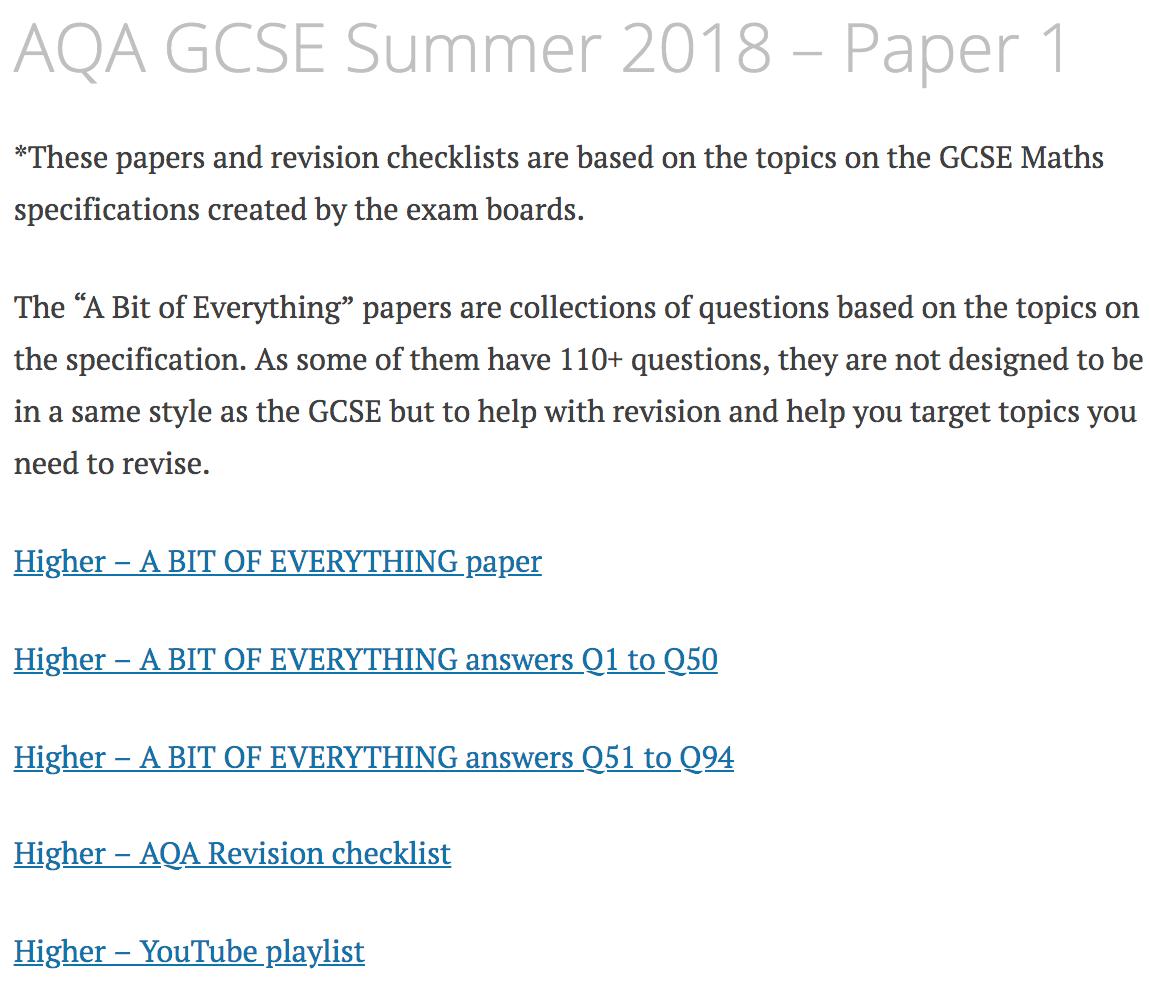 AQA GCSE Summer 2018 – Paper 1 – Corbettmaths