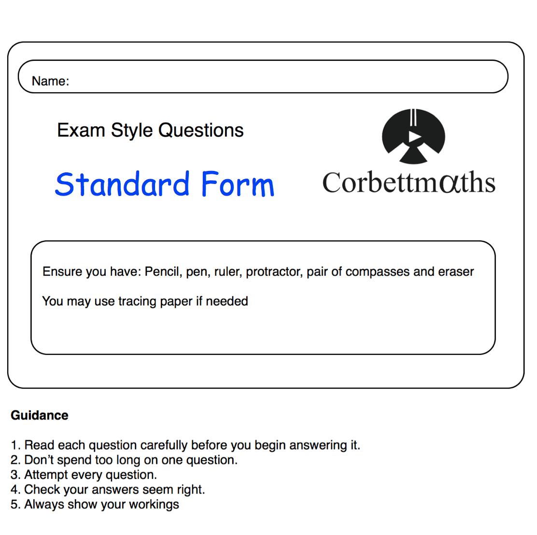 standard form corbett maths Standard Form Practice Questions – Corbettmaths