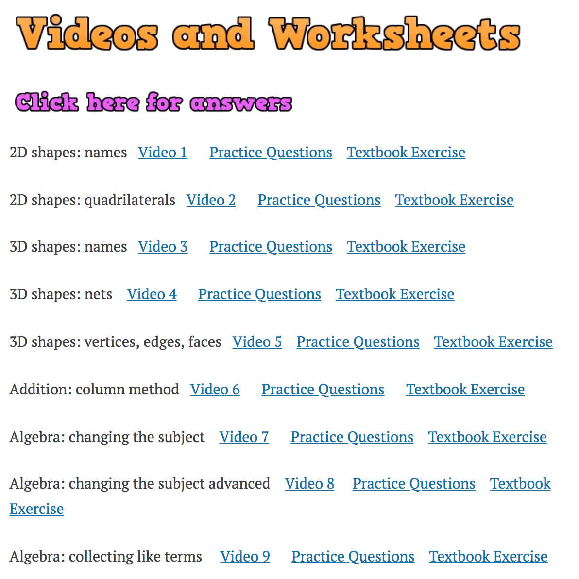Videos And Worksheets Corbettmaths