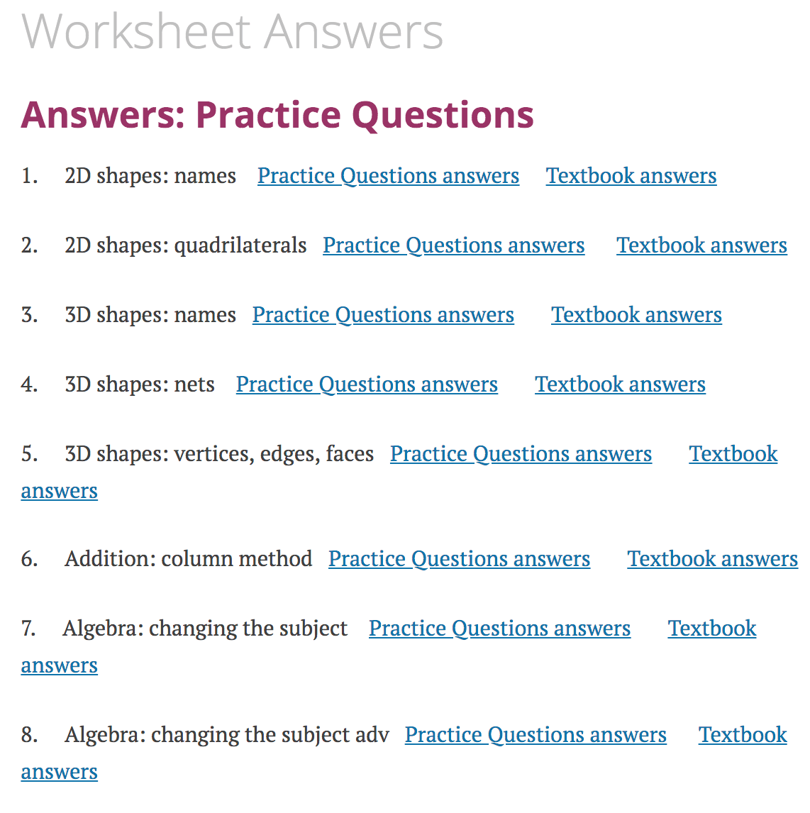 Worksheet Answers – Corbettmaths