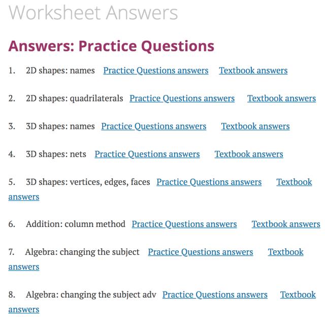 Worksheet Answers – Corbettmaths