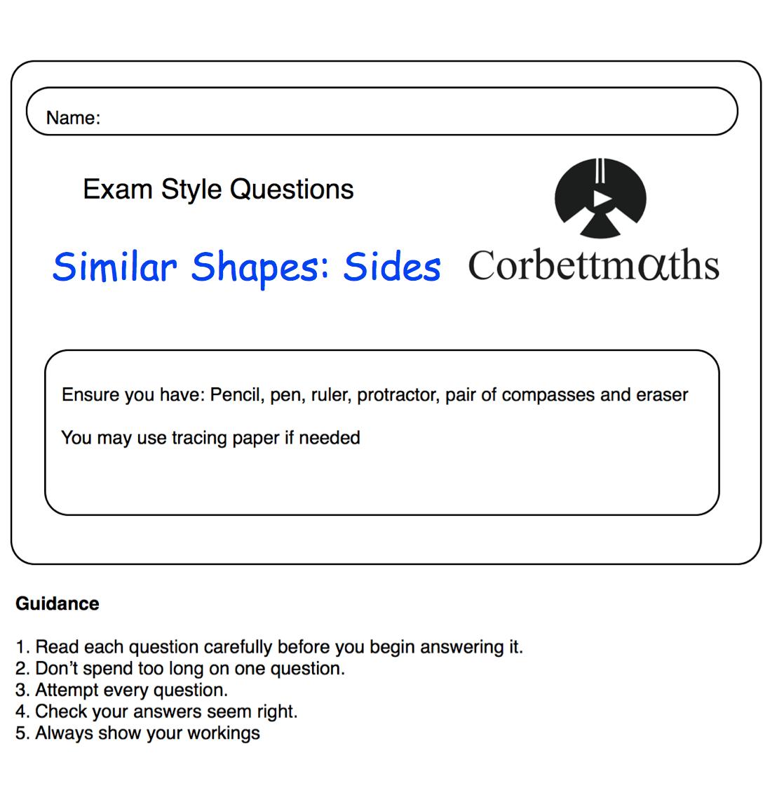 Similar Shapes Sides Practice Questions – Corbettmaths Inside Similar Figures Worksheet Answers
