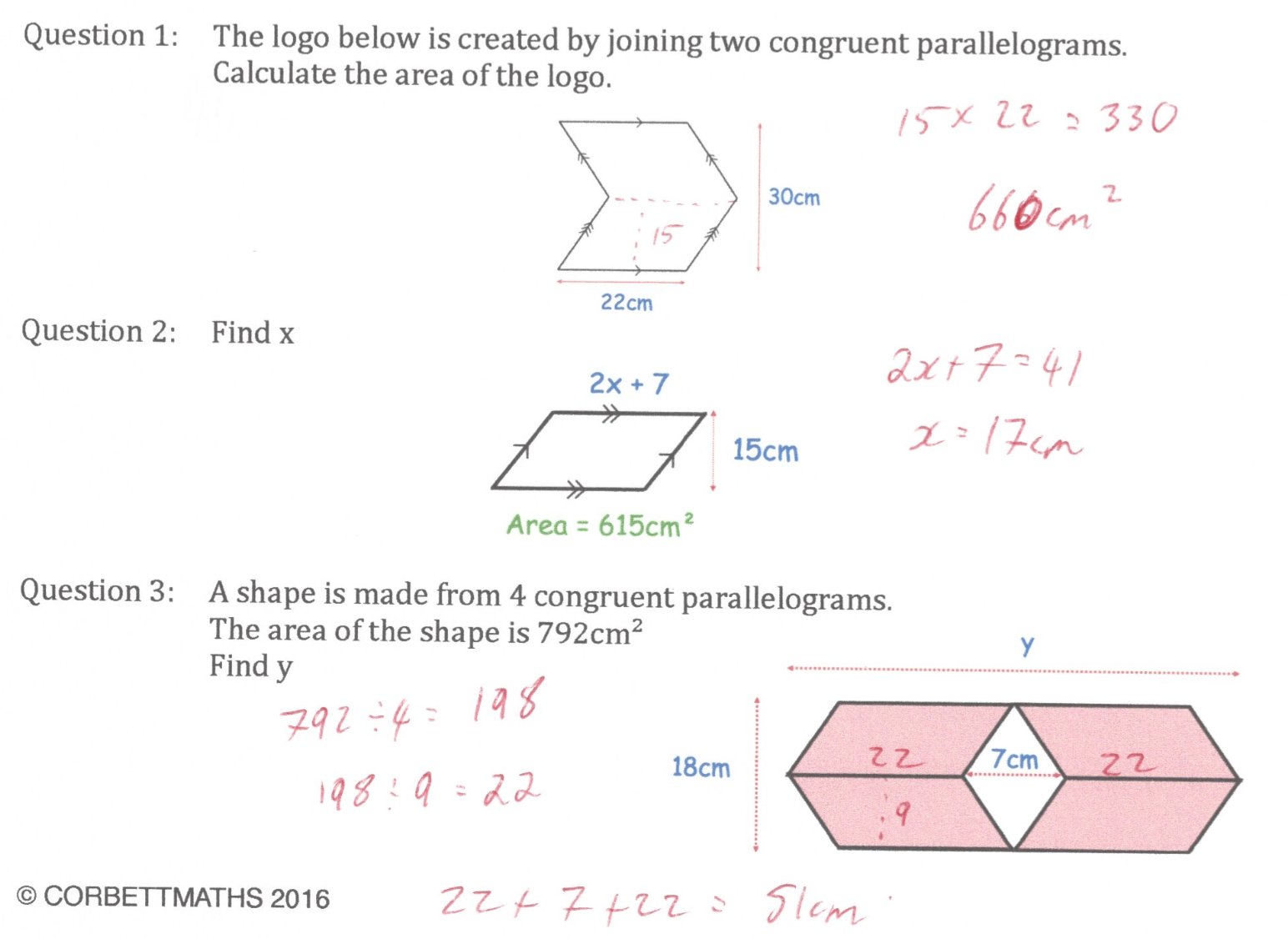 Area Of A Parallelogram Answers