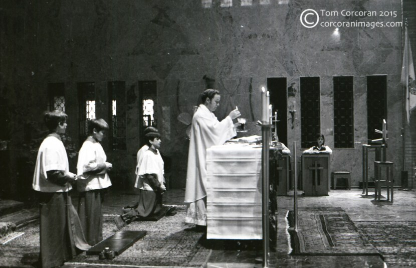 black and white photo of a catholic mass