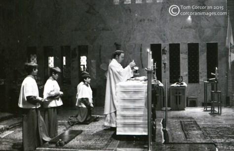 black and white photo of a catholic mass