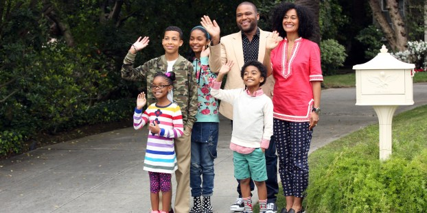 """BLACK-ISH - ABC's new family comedy, """"black-ish,"""" takes a fun yet bold look at one man's determination to establish a sense of cultural identity for his family. The series stars Anthony Anderson, Tracee Ellis Ross and special guest star Laurence Fishburne. (ABC/Adam Taylor) MARSAI MARTIN, MARCUS SCRIBNER, YARA SHAHIDI, ANTHONY ANDERSON, MILES BROWN, TRACEE ELLIS ROSS"""
