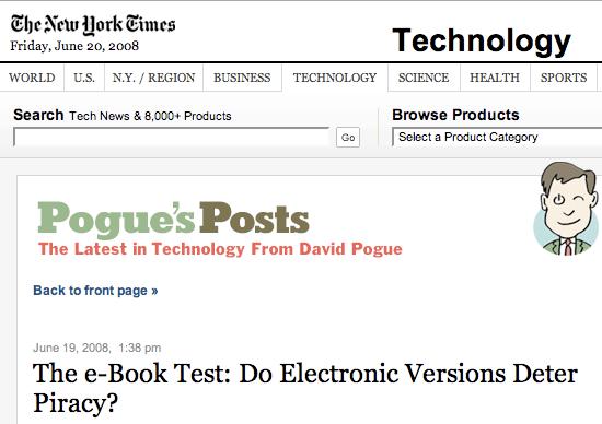 New York Times > David Pogue >The e-book test
