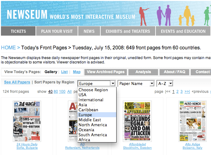 Newseum > Frontpages