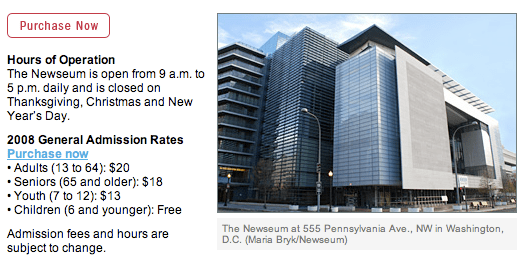 L'edificio sede di Newseum a Washington