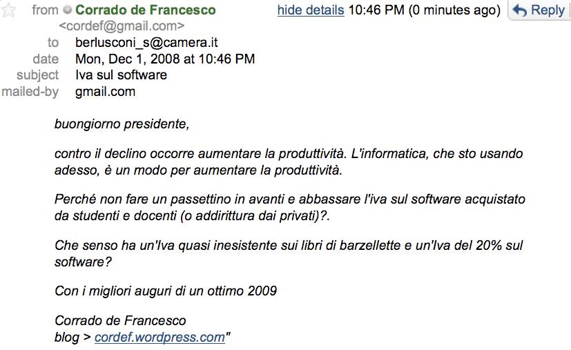 Cordef > mail del 1° dicembre > Iva software