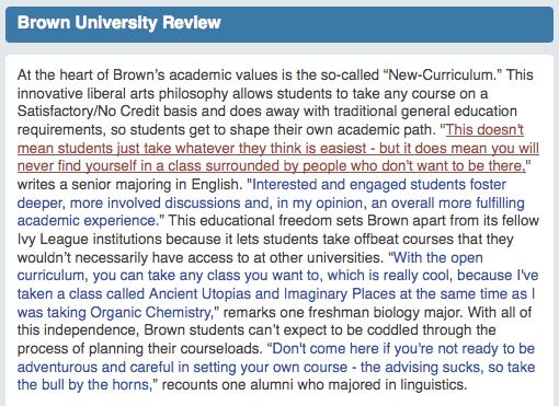 Unigo > Brown University >review