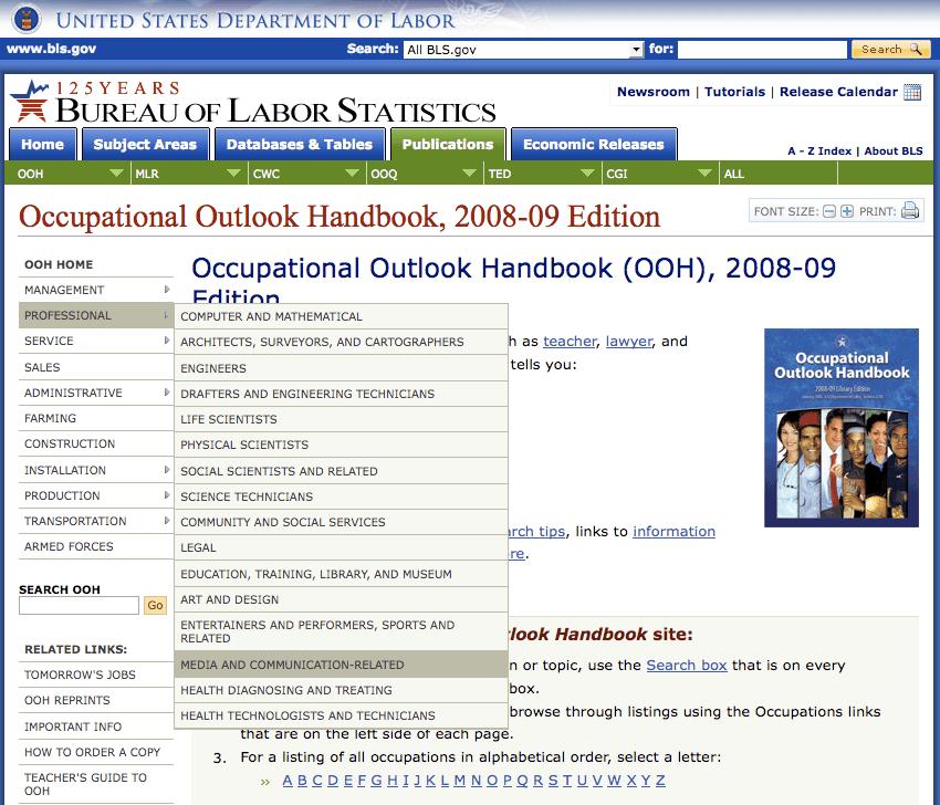 DOL > Occupational Outlook Handbook