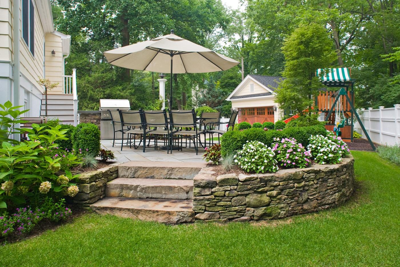 Bluestone Steps Cording Landscape Design | Patio With Steps To Garden | Sl*P* | Pinterest | Lighting | Balustrade | Contemporary