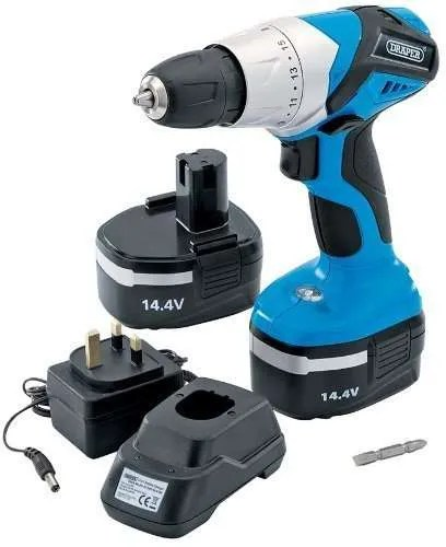 Draper 20494 14.4-Volt Cordless Rotary Drill with Two Ni-CD Batteries
