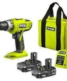 RYOBI 18V CORDLESS HAMMER DRILL .COMPLETE WITH X2 LITHIUM BATTERIES ,FAST GREEN SUPER LIGHTWEIGHT CHARGER