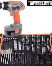 Terratek 150 Piece 18V Cordless Drill, Fantastic Electric Screwdriver complete with Tool & Accessory Set