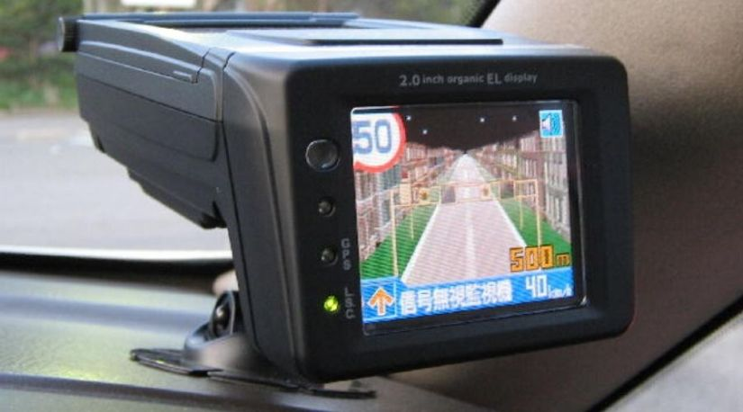 Best Cordless radar Detector on a Car's Dash-board used to detect the distance from the police's radar