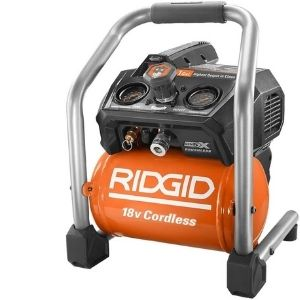 A picture representation of Ridgid R0230 1 Gal. 18-Volt Brushless Cordless Air Compressor, an example of the best cordless air compressor units