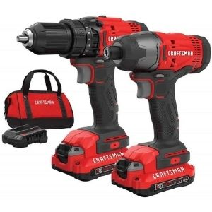 A picture of CRAFTSMAN V20 Cordless Drill Combo Kit, 2 Tool (CMCK200C2), a reliable unit amongst the best cordless drill under $150