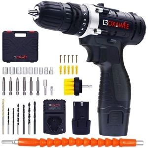 An image of GOXAWEE Electric Screw Driver Set 100pcs, an example of the best lightweight cordless drill