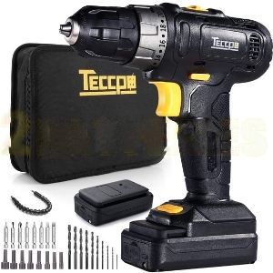 An image of TECCPO Cordless Drill, 12V MAX Drill, a unit with the largest run time among the best lightweight cordless drill