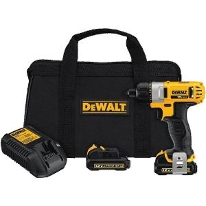 A picture representing DEWALT DCF610S2 12-Volt Max 1/4-Inch Screwdriver Kit, a compact, lightweight with LED for enhanced vision model among the best cordless screwdriver for electricians
