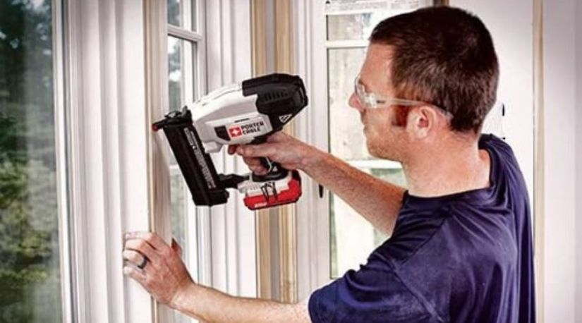 An image of a man effortlessly using the PORTER-CABLE 20V MAX Cordless Brad Nailer due to its manageable weight that makes it qualify as one of the best cordless pin nailers