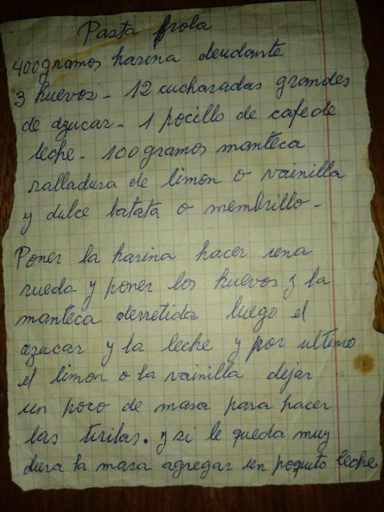 La receta de pastafrola de la Nona Nelly.