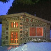 Cordwood Timber Framed Sauna in Michigan