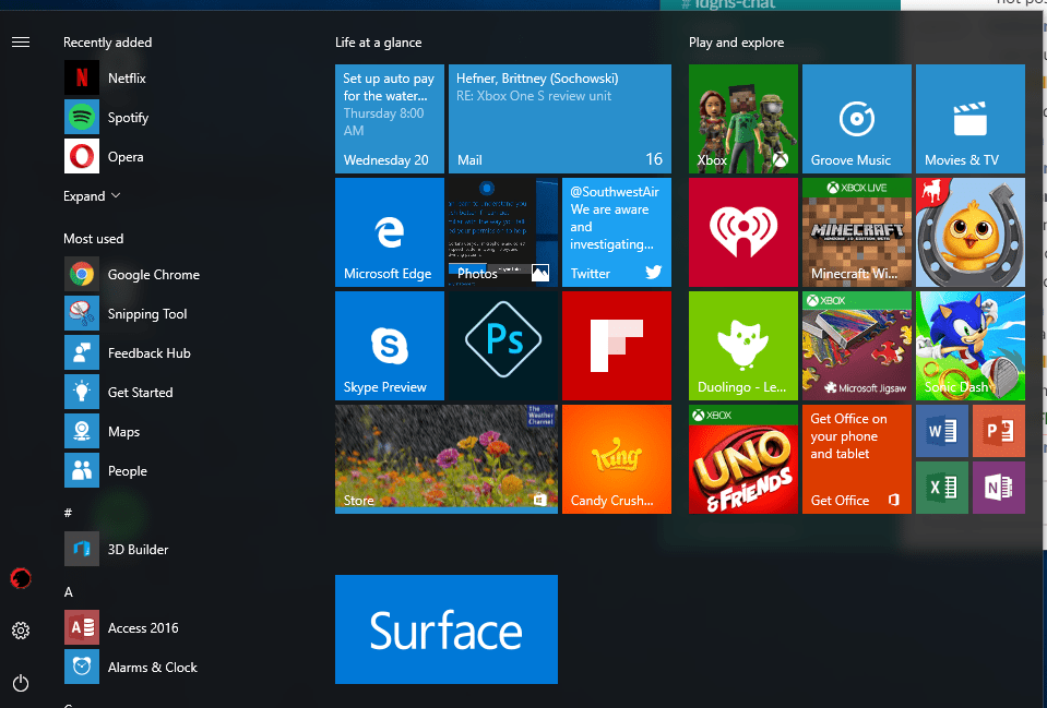 The Windows 10 start menu, showing the arrangement of these panes.