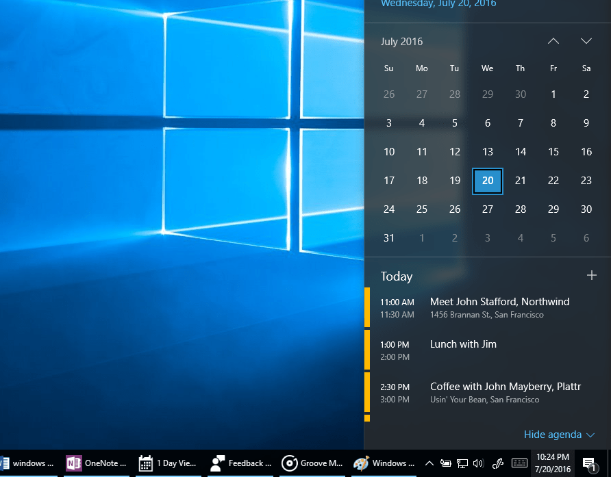 The new Windows 10 date and time view, showing the calendar pop-up.