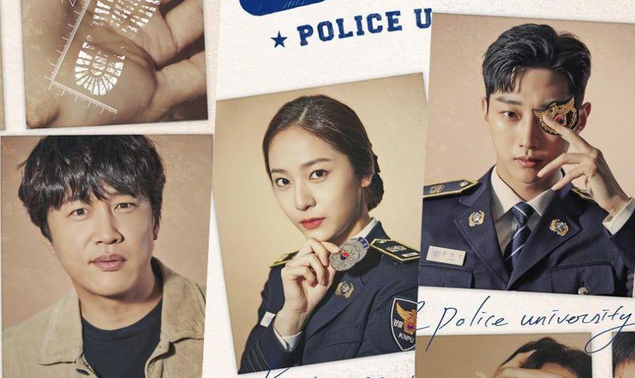 Novo drama 'Police University' abre o arquivo sobre Cha Tae Hyun, Jinyoung, Krystal e muito mais no pôster