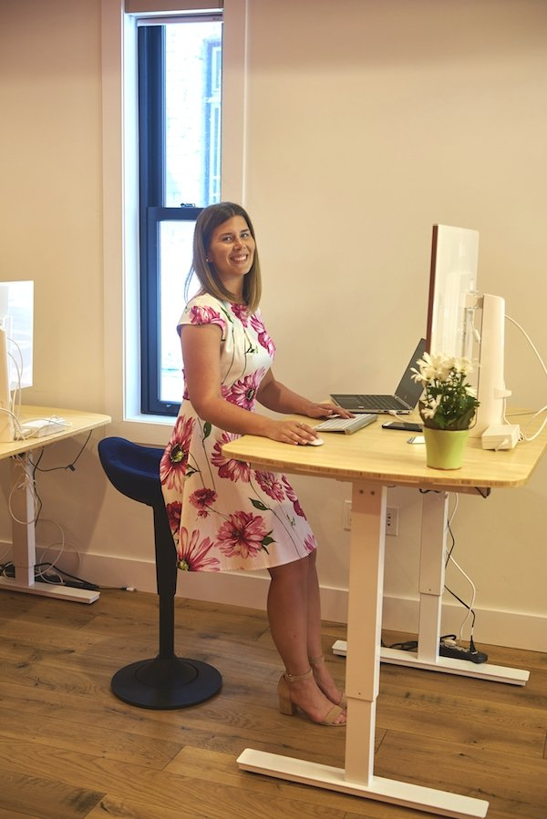 Perch stool for active sitting at standing desk