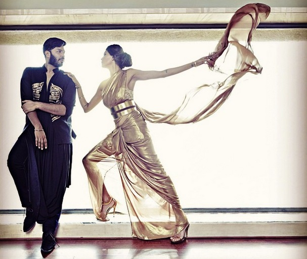 Nikhil Thampi with Susmita Sen for Harper's Bazaar Bride