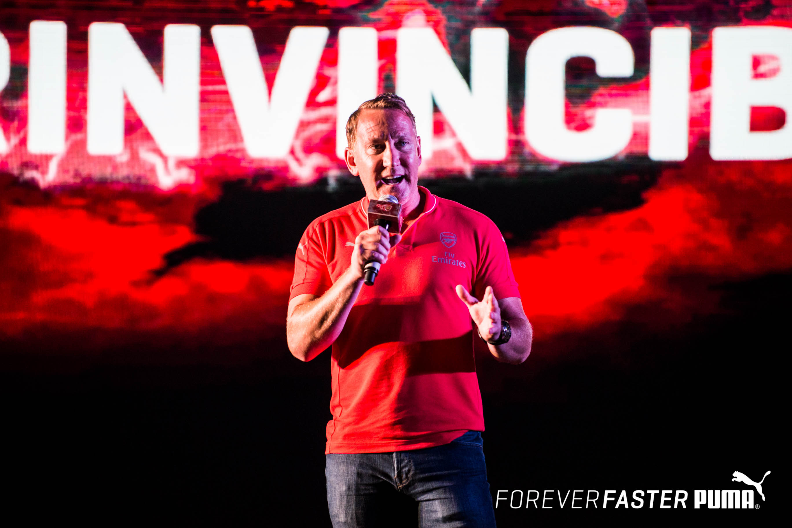 2b96e453e09 Arsenal legend Ray Parlour at the launch of the PUMA- Arsenal kits in India  for Arsenal legend Sol Campbell ...