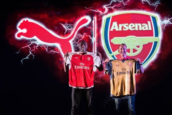 Arsenal legends Ray Parlour and Sol Campbell unveil the new PUMA Arsenal kits in India for the 2015-2016 football sea_